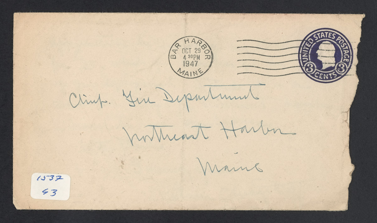 Oliver Wagstaff to Northeast Harbor Fire Department Chief Letter and Envelope, October 29, 1947