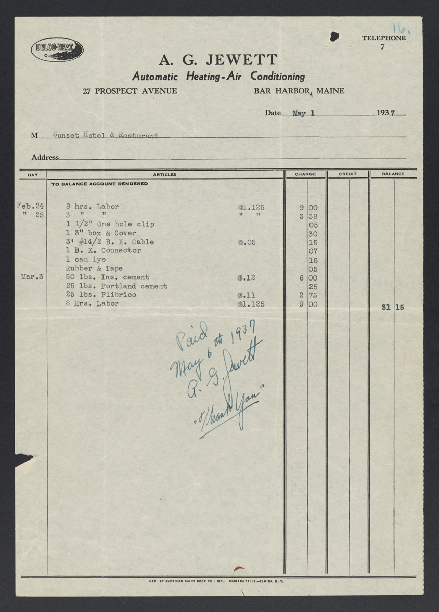 A.G. Jewett Automatic Heating and Air Conditioning Invoice, May 1, 1937