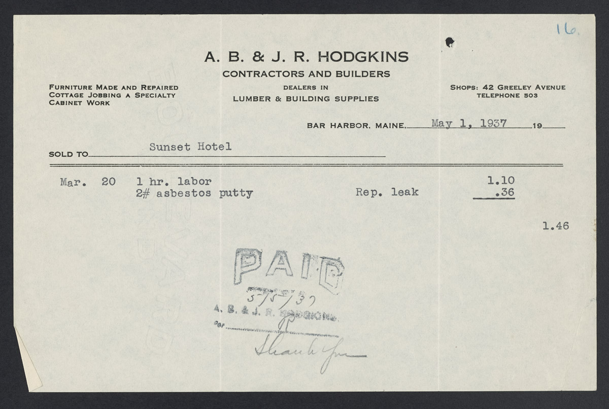 A.B. & J.R. Hodgkins Contractors and Builders Invoice, May 1, 1937