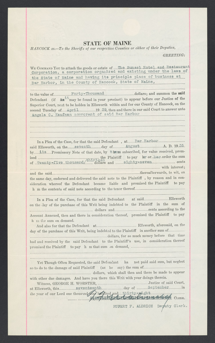 The Sunset Hotel and Restaurant Court Summons Legal Notice, September 17, 1938
