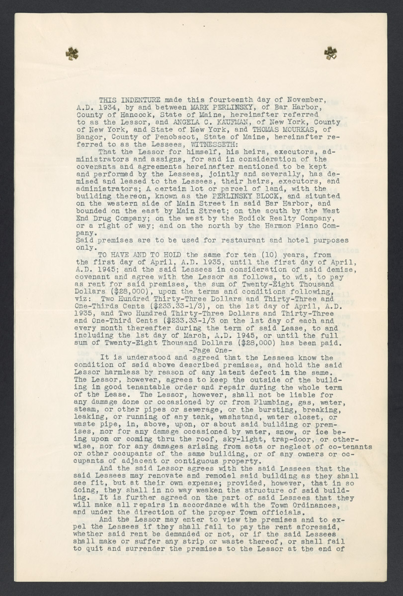 Perlinsky, Kaufman, and Mourkas Contract, March 16, 1935