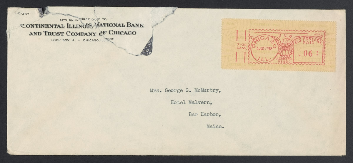 Continental Illinois National Bank to Mrs. George G. McMurtry Envelope, August 7, 1938