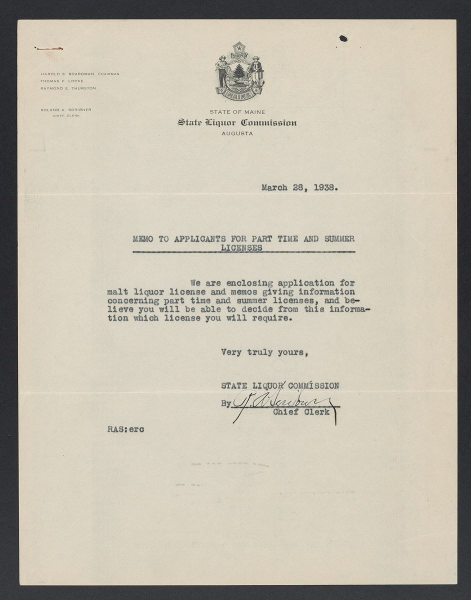 Roland A. Scribner to Applicants for Part Time and Summer Licenses Letter, March 28, 1938