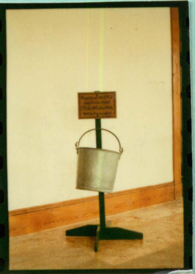 SPCA solicitation pail with stand and sign
