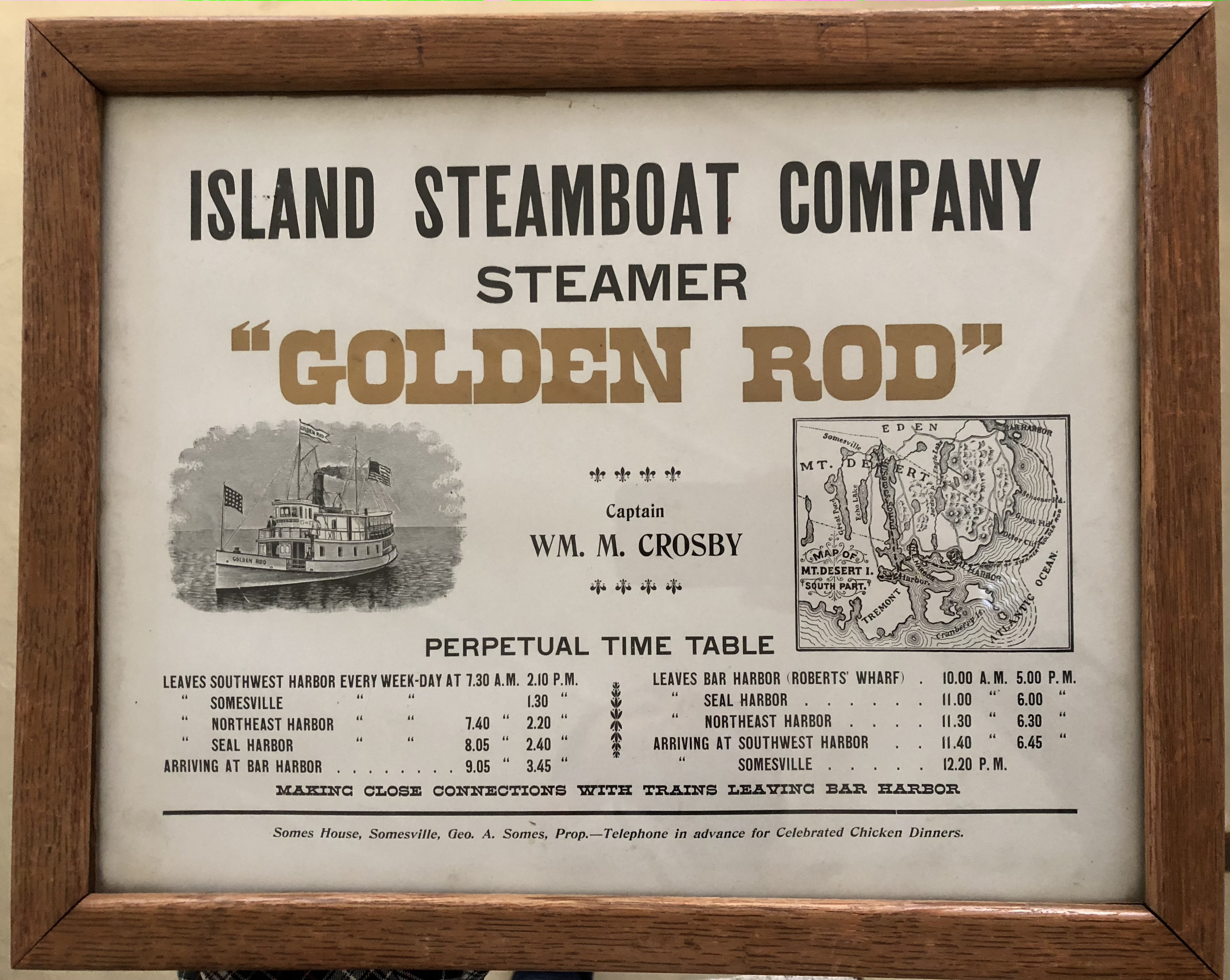 """Island Steamboat Company, Steamer """"Golden Rod"""" timetable"""