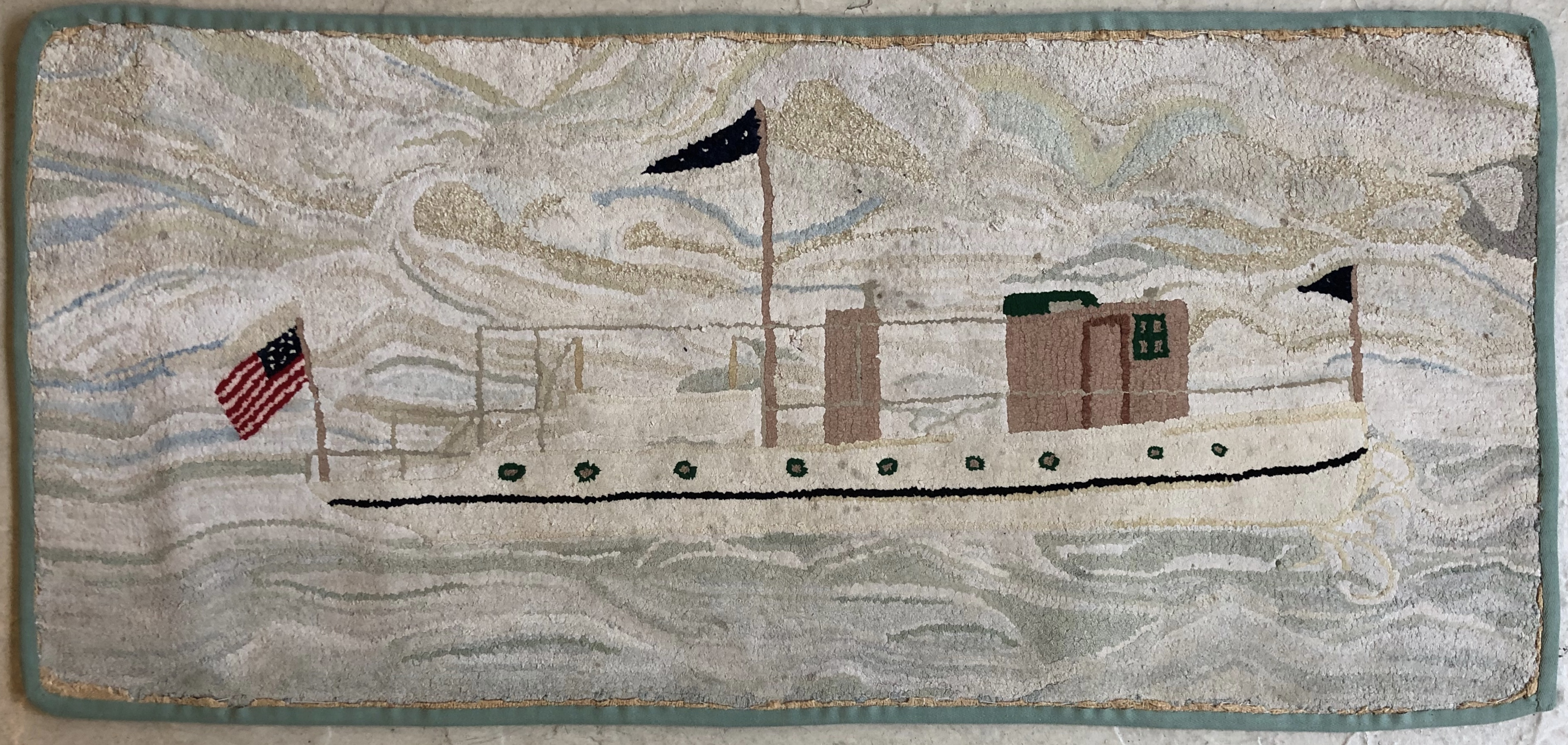 Hooked Rug with Motorboat